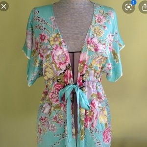 Cabi blue silk floral kimono with tie/belt small